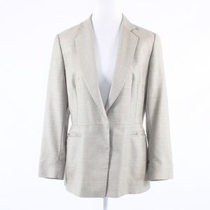 Giorgio Armani light gray taupe plaid jacket 10